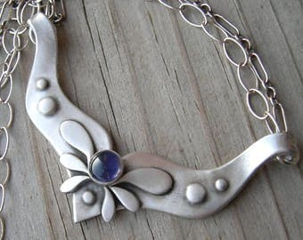 Eos Goddess of the Dawn Sterling Silver Iolite Necklace
