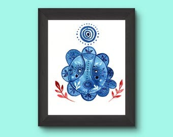 Taino sun blue. Art print.
