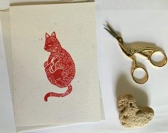 Little nap cat. Linocut card
