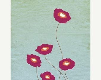 50% Off Summer Sale - Red Poppies Print - Stay Close - 12x18 - Modern Wall Art