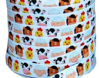 20% OFF EXP 06/30 Designer 5 Yards 5/8 Print Fold Over Elastic FOE - Farm animals