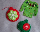 Embroidered Felt Christmas Ornaments OOAK Hand Stitched Ugly Christmas Sweater Snowflake Tree Decorations Sequin Christmas Light Tacky Green