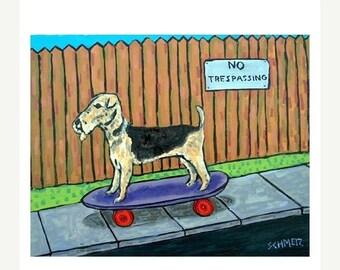 20 % off storewide Airedale Terrier Riding a Skateboard Dog Art Print   JSCHMETZ modern abstract folk pop art AMERICAN ART gift