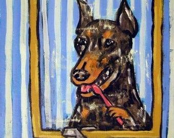 20% off Doberman Pinscher ,doberman art, print on tile, ceramic coaster, gift for dentist, modern dog art, doberman pinscher tile, dog art t