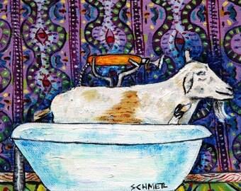 20% off goat bathroom animal art tile coaster  JSCHMETZ modern abstract folk pop art AMERICAN ART gift