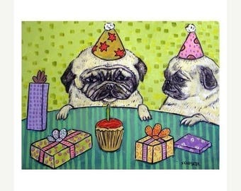 20% off Pug Birthday Party Dog Art Print
