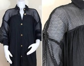 30% Off Sale 80s Wear-abouts Black Mesh Swim Cover Up / Tunic Blouse / Mini Dress, Size XL to Plus Size