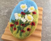 Felted Goat Milk Soap - Blackberry Green Tea Scented with a Hillside Wildflower Theme