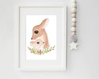 Woodland Deer/Nursery Art PRINT/Watercolor Painting/Mother & Baby/ Wall Art/ Woodland Floral Decor/Neutral Nursery/8x10 print/5x7/11x14