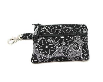 Summer Clearance Small Zippered Wallet Change Purse Gadget Case Black and White Dahlias