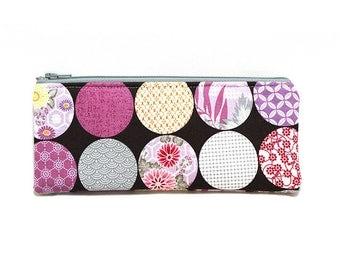 Cosmetic Case, Cord Case, Bridesmaid Gifts, All-Purpose Zipper Case, Kimono Gardens Dark 9017