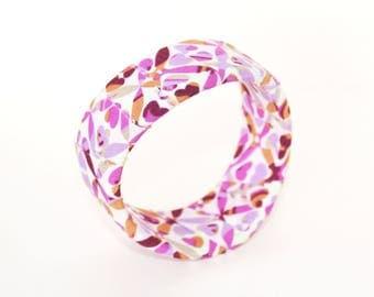 Pink, purple, orange brown and white fabric wrap bangle