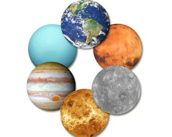 Planet Coasters, Set of 6 - Space Solar System Planetary Coaster set  - Drink Coasters 3.5""