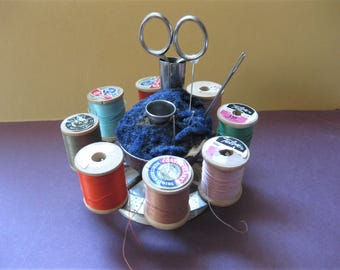 Vintage, Victorian Pincushion and Spools Holder, with Scissors and Wood Spools