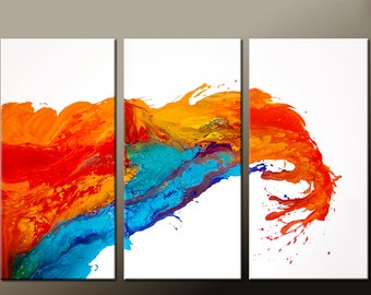 Abstract Canvas Art Painting 3pc 72x48 Original Gold Contemporary art Paintings by Destiny Womack - dWo - The Wave - SALE