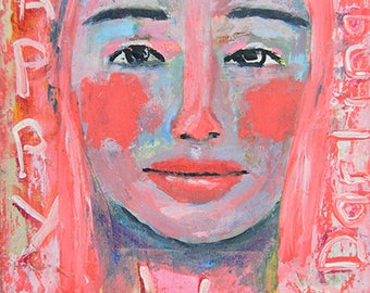 Happy Birthday, Darling. Pink Acrylic Mixed Media Collage Woman Portrait Original Painting. Gift For Her Small Apartment Wall Art.