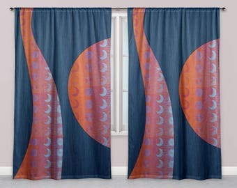 Sun and Moon Window Curtains, Celestial Drapes, Orange and Blue Sun and Moon Modern Abstract Graphic Line Texture Pattern Designer Curtains