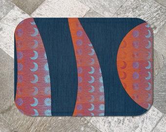Sun and Moon Soft Bath Mat, Plush Microfiber Slip Resistant Blue and Orange Celestial Theme Bathroom Floor Mat