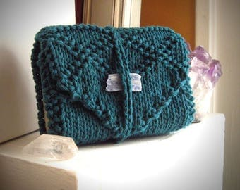 Dark Teal Knit tarot case / tarot cards holder / green tarot wrap / knit tarot wrap / tarot deck holder / tarot reader gift / tarot bind