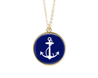 ANCHOR NECKLACE, Tassel Necklace, Nautical Necklace, Beach, Navy Blue, Silver, Gold, Preppy Necklace, Anchor Jewelry, Summertime, Boating