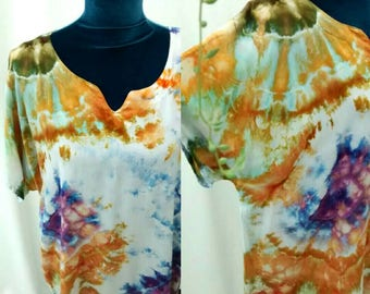 Ice Dyed Tunic Blouse in Purple Gold Moss Green Rayon Asymmetrical Top size Large.