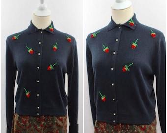 Women's Vintage 1950s 100% Orlon Blue Black Strawberry Collard Cardigan by Rosanna S/M