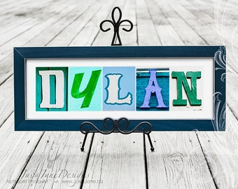 Child's Name | Colorful Alphabet Artwork in Vintage Signs | Custom Name Frame | Kids Room Personalized Art | Alphabet Photography