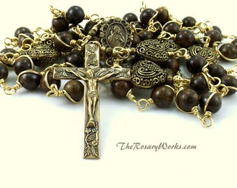 Sacred Heart Rosary Beads Solid Brass Bronzite Brown Wire Wrapped Unbreakable Traditional Catholic 5 Decade Mens Gift
