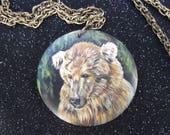 Hand Painted Wooden Pendant - Otis the Bear