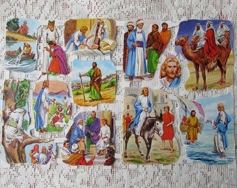 England Vintage Religious Wise Men Jesus Bible Stories Lithographed Die Cut Paper Scraps Out Of Print  1564