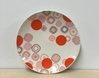 handmade porcelain dinner plate: Dot Dot Rounded Square Plate by Meredith Host, red and orange, mid mod, dots, polka dots, wheel thrown