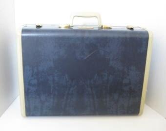 Vintage Samsonite Dark Blue Marbled Suitcase Luggage