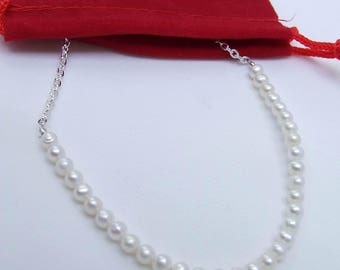 Pearl Necklace, white necklace, beaded chain, silver necklace, small bead chain, freshwater pearl