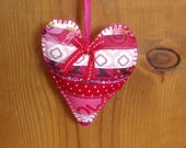 Stuffed Patchwork Heart Ornaments/Hanging Decor/Valentines with a Pink Colored Felt Backing