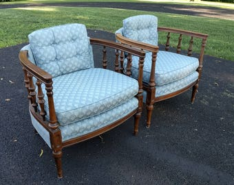 2 mid century spindle barrel back lounge chairs