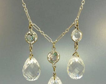 Art Deco Faceted Crystal Necklace Sterling & Multi Faceted Crystal Drops