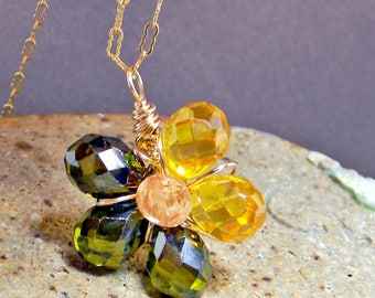 Cubic Zirconia Dainty Flower Pendant wrapped in Gold-Filled Wire, Green Yellow Flower Workplace Pendant Necklace, Ooak Gift for Her