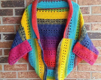 Cocoon Sweater, Criss-Cross Blanket Sweater, Crochet Shrug, Cardigan, Adult, made to order