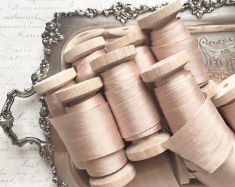 "Champagne Silk Ribbon Spool, Hand Dyed Silk Ribbon Champagne, 3 yards, 1.25"" Wide Silk Ribbon, Silk Ribbon, Wide Silk Ribbon"