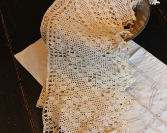Beautiful Handmade Crocheted Cotton Lace, Super Wide