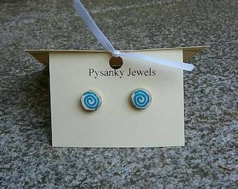 Tiny blue and white spiral goose eggshell post earrings