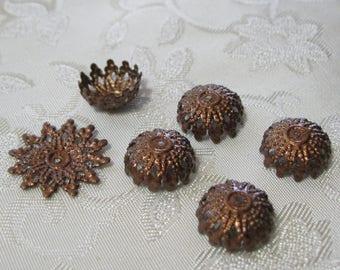 Copper Starburst Filigree Bead Caps 11mm Nickel Free 347