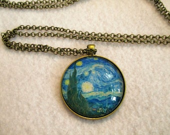 VAN GOGH Starry Night Cabochon PENDANT Necklace