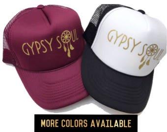 Women's Trucker Hat, Gypsy Soul Hat, Snapback, Women's Cap, Maroon Hat, Boho Hat, Hippie Hair, Dreamcatcher, Feathers, Wanderer Hat, Gypsy