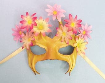Flowering Tree Leather Mask with Fabric Flowers fairy faerie greenman greenwoman white flower