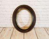 Vintage Oval Wood Frame Gold Accent