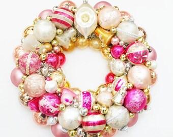 Ornament Wreath, Vintage ornament wreath, shiny brite wreath, Pink Ornament Wreath