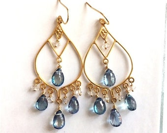 XMAS IN JULY 20% off, Blue Topaz and Herkimer Diamond Goddess Earrings- Gold