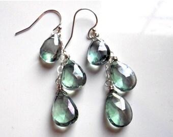 XMAS IN JULY 20% off, Mystic Green Quartz Cascade Earrings, lever back option, dangle earrings, cluster earrings