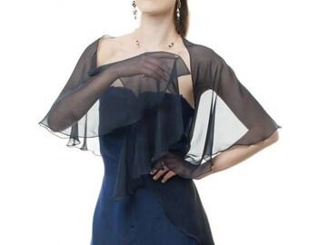 Promo Sale: Dark Navy Scarf/ Wrap Silk Chiffon